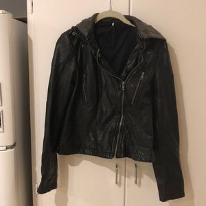 Free People leather jacket with hood